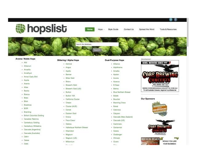 Hopslist.com Webpage