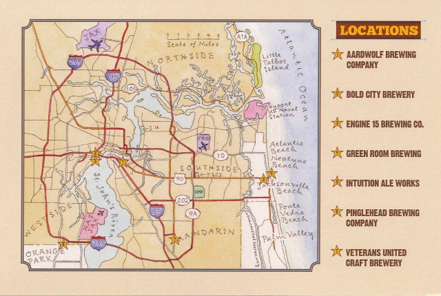 Map of the JAX Ale Trail Brewry Locations