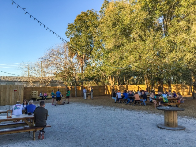 Visitors to the First Magnitude Brewery in Gainesville Florida enjoy their beer in the Beer Garden.