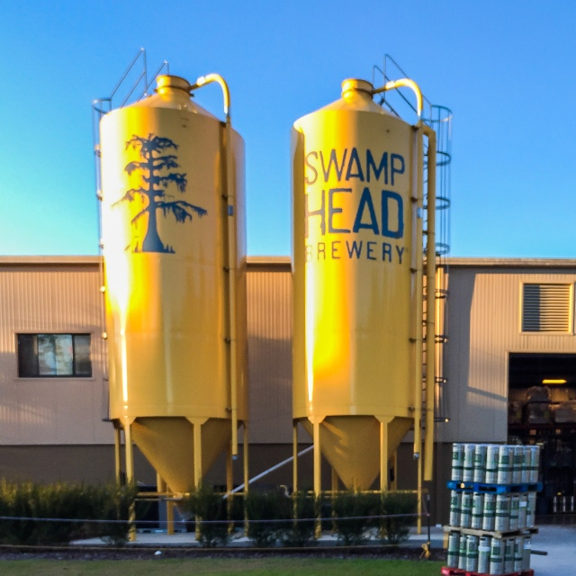 The iconic grain silos in front of Swamp Head Brewing in Gainesville Florida